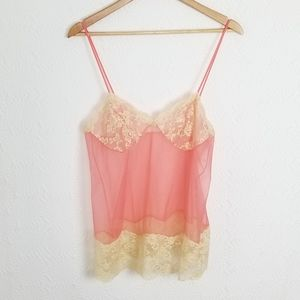 VTG Vanity Fair Coral Sexy Camisole Lace Trim ~36~